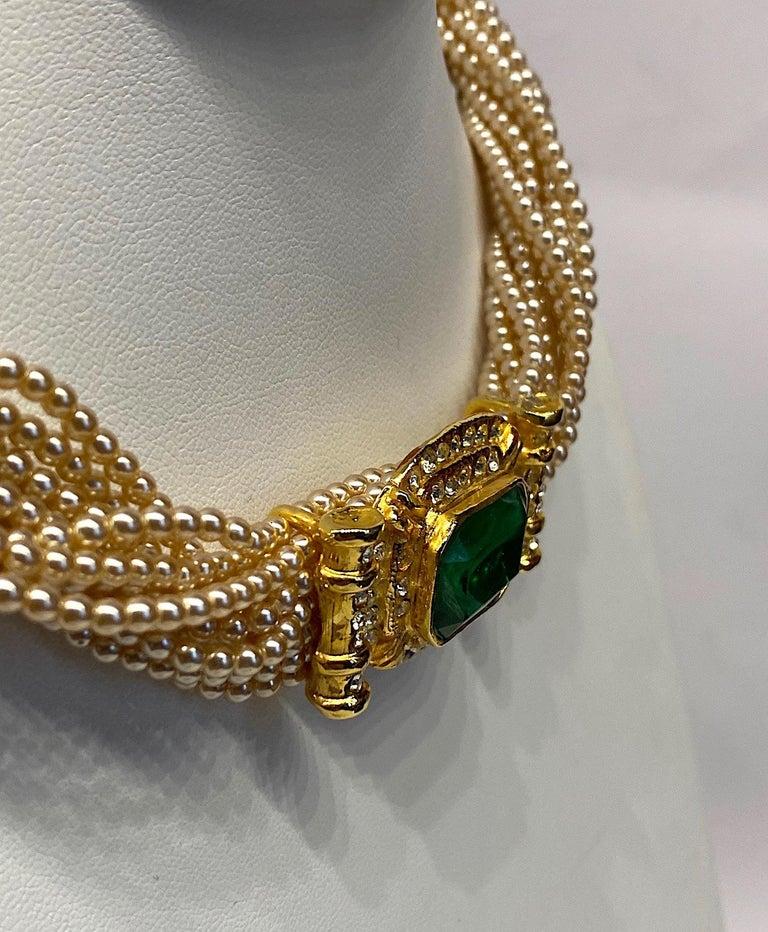 Laura Biagiotti Multi Strand Pearl Torsade Necklace, 1980s For Sale 8