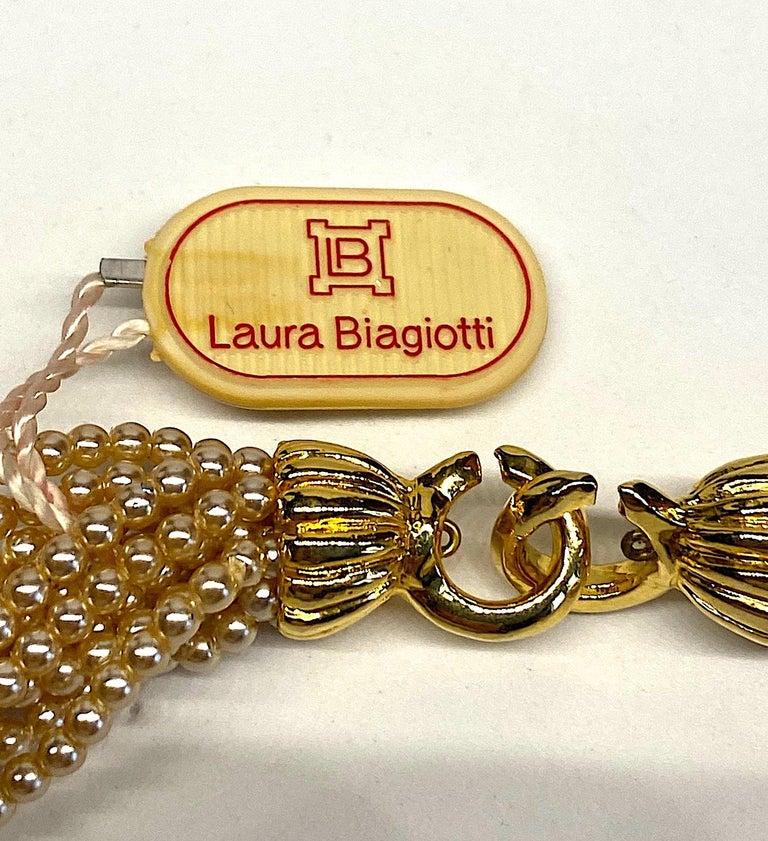 Laura Biagiotti Multi Strand Pearl Torsade Necklace, 1980s For Sale 9