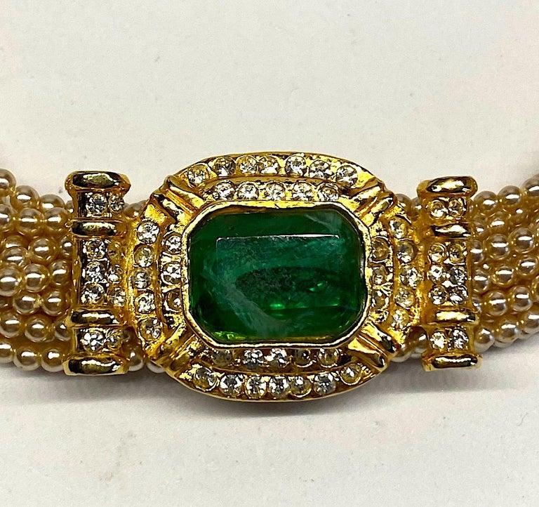 Laura Biagiotti Multi Strand Pearl Torsade Necklace, 1980s For Sale 11
