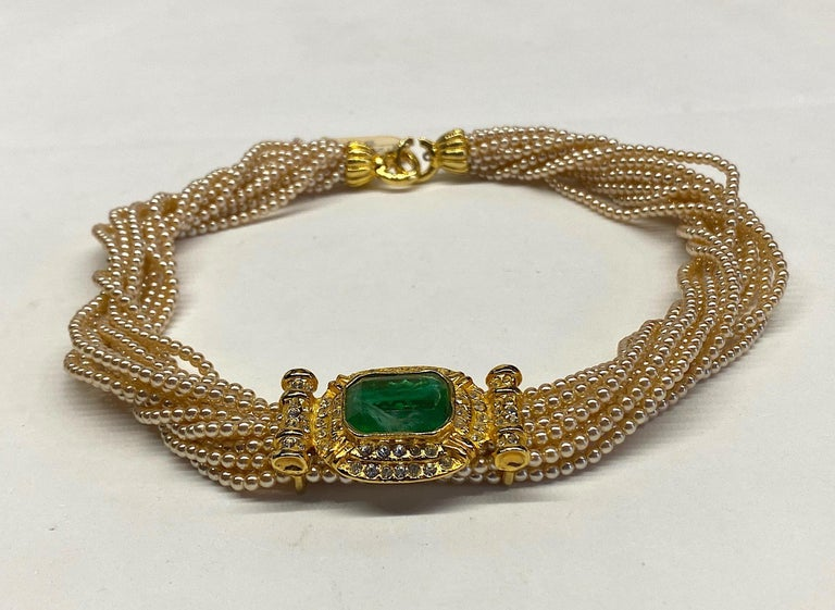 Laura Biagiotti Multi Strand Pearl Torsade Necklace, 1980s For Sale 12