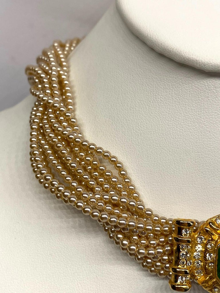 Laura Biagiotti Multi Strand Pearl Torsade Necklace, 1980s In Good Condition For Sale In New York, NY