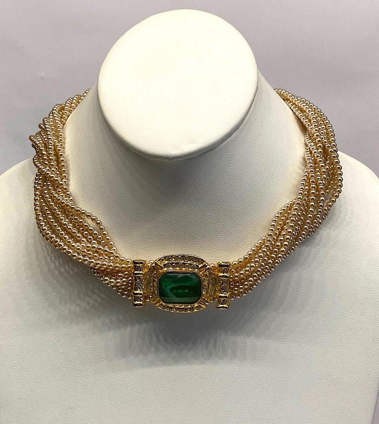 Women's Laura Biagiotti Multi Strand Pearl Torsade Necklace, 1980s For Sale