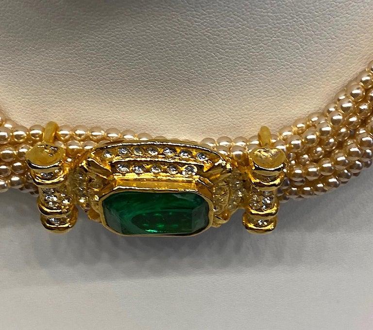 Laura Biagiotti Multi Strand Pearl Torsade Necklace, 1980s For Sale 1