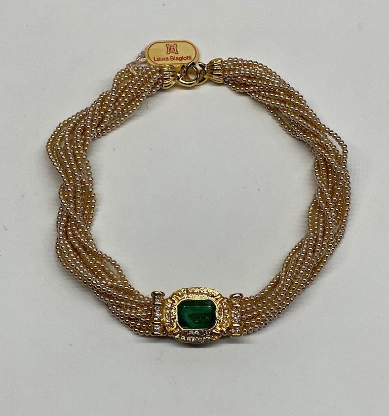 Laura Biagiotti Multi Strand Pearl Torsade Necklace, 1980s For Sale 2