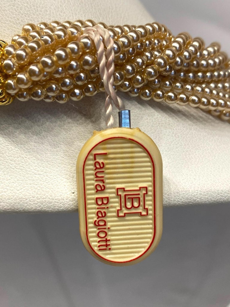Laura Biagiotti Multi Strand Pearl Torsade Necklace, 1980s For Sale 4