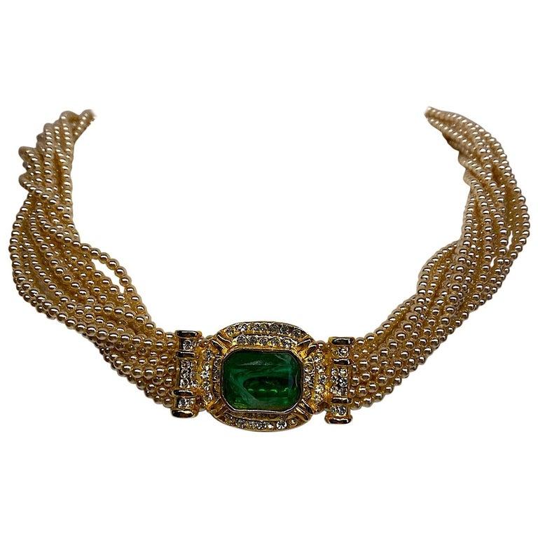 Laura Biagiotti Multi Strand Pearl Torsade Necklace, 1980s For Sale