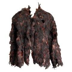 "Laura BIAGIOTTI ""New"" Exotic Bird Feathers (Pre-Ban) Single Piece Jacket- Unworn"