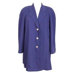 Laura Biagiotti Purple Cotton Classic Coat