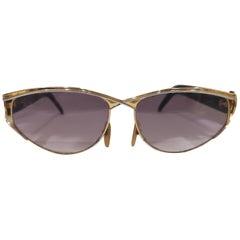 Laura Biagiotti purple lens gold black sunglasses