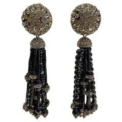 Laura Biagiotti Rhinstone and Black Beads Tassel Earrings