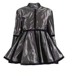 Laura Biagiotti Vintage 1990s Dark Silver Satin Lamé Trim Evening Peplum Jacket