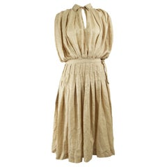 Laura Biagiotti Vintage Beige Pleated Silk Jacquard Blouson Dress, 1980s