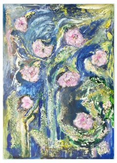 Pink Flowers - Original Oil on Canvas by Laura D'Andrea - 2010s