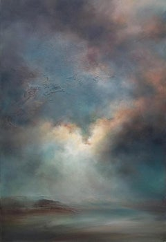 Laura Dunmow, The Blue Hour, Original Skyscape Painting, Semi Abstract Art