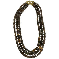 Laura Gibson 22 Karat Yellow Gold Triple-Strand Beaded Necklace