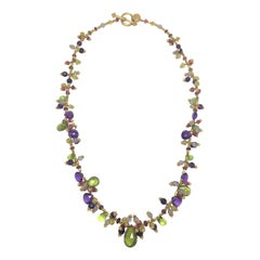 Laura Gibson Multi-Color Gemstone Beaded Necklace in 22 Karat Yellow Gold