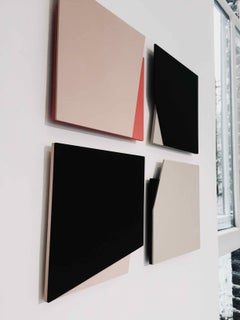 'Cut-out 20': Set of Four Minimal Hard Edge Abstract Paintings