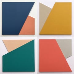 Fold 50 (Series III): Set of Four Minimal Abstract Paintings by Laura Jane Scott
