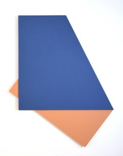 Fold: Minimal hard edge abstract painting in blue and apricot