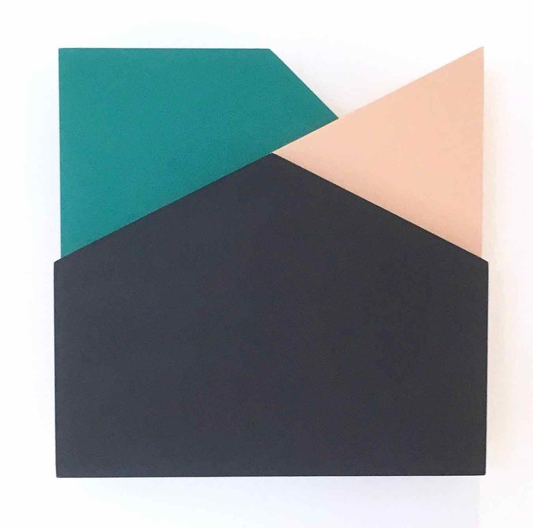 Perspective Study 006, 2019, Wooden board and paint, 5 1/2 × 5 1/2 × 1 3/5 in, 14 × 14 × 4 cm by Laura Jane Scott  Laura Jane Scott's desire for formal simplicity through geometric form and striking use of colour has enabled her to produce a body of