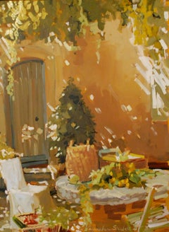 'Afternoon Light' Large Vertical Impressionist European Painting