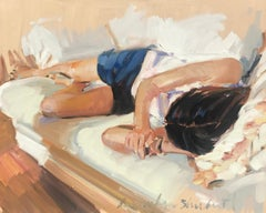 Alexandra Napping by Laura L. Shubert petite rectangle impressionist figure
