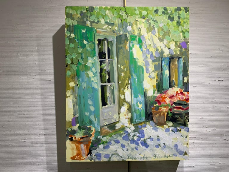 Blue and Green Shutters by Laura Shubert, Petite Oil on Board Facade Painting For Sale 1