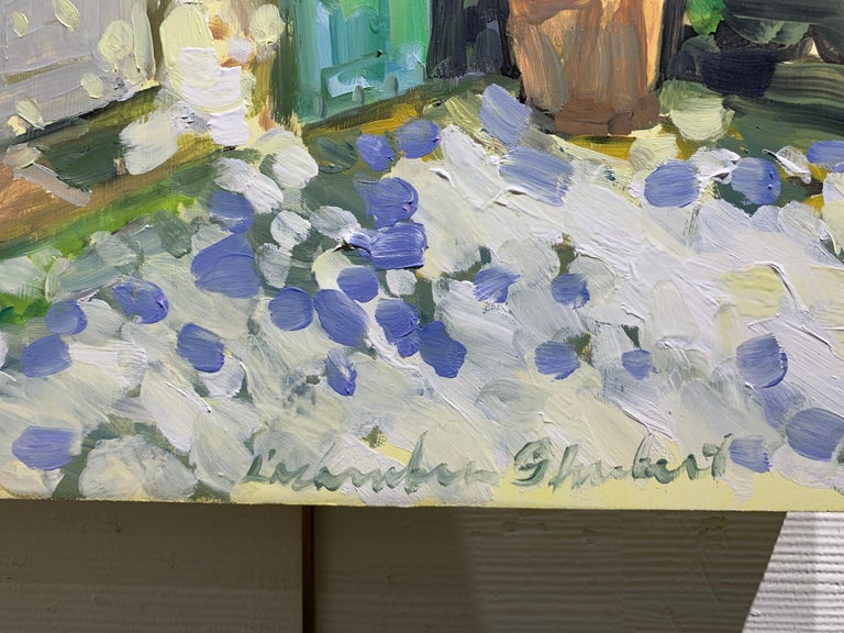 Blue and Green Shutters by Laura Shubert, Petite Oil on Board Facade Painting For Sale 2