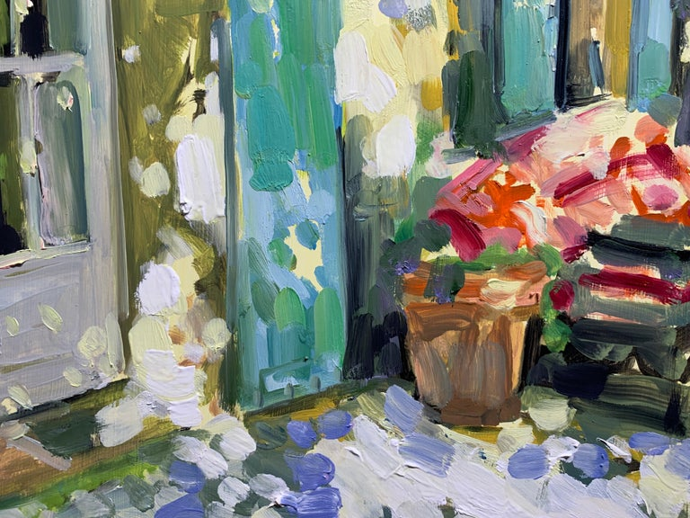 Blue and Green Shutters by Laura Shubert, Petite Oil on Board Facade Painting For Sale 3