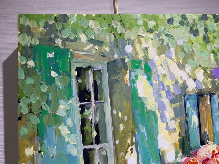 Blue and Green Shutters by Laura Shubert, Petite Oil on Board Facade Painting For Sale 4