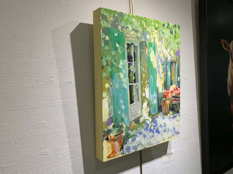 Blue and Green Shutters by Laura Shubert, Petite Oil on Board Facade Painting For Sale 6
