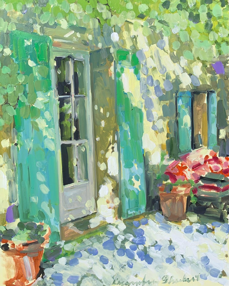 Laura Lacambra Shubert Landscape Painting - Blue and Green Shutters by Laura Shubert, Petite Oil on Board Facade Painting