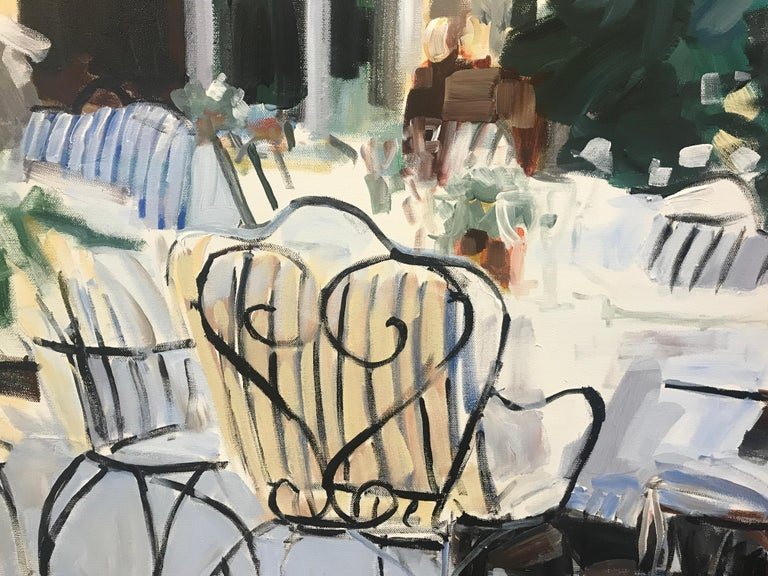 Courtyard by Laura Lacambra Shubert, Large Vertical Impressionist Painting  3