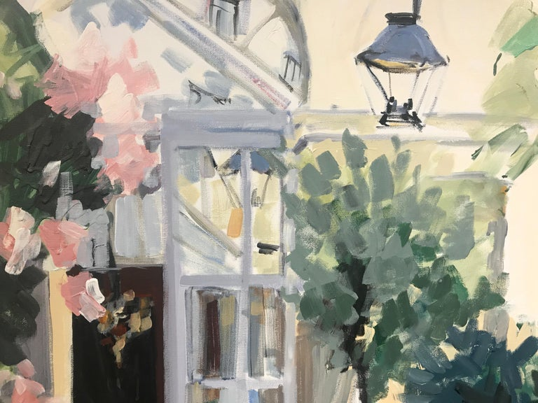 Courtyard by Laura Lacambra Shubert, Large Vertical Impressionist Painting  4