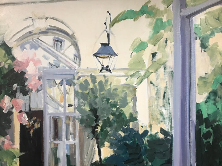 Courtyard by Laura Lacambra Shubert, Large Vertical Impressionist Painting  6