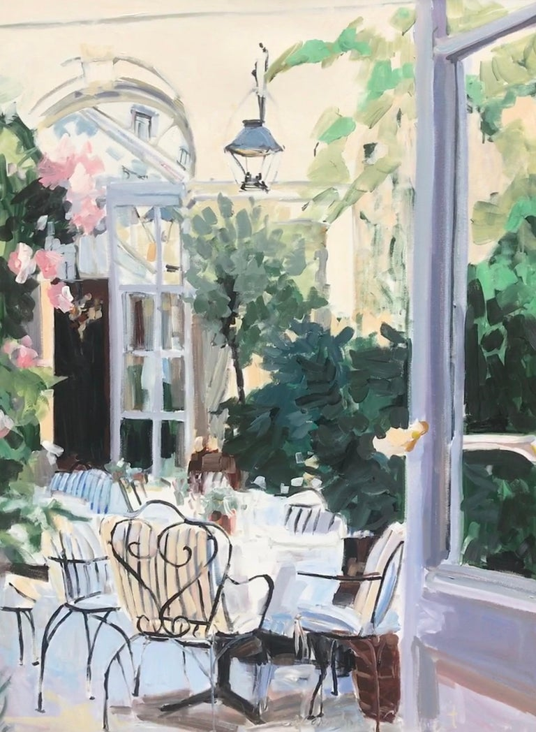 'Courtyard' is a large Impressionist oil and acrylic on canvas painting created by American artist Laura Shubert in 2019. Featuring a palette made of green, cream, light purple, pink, black and blue tones, the painting depicts a serene patio