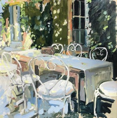 Eating Outdoors, Laura Shubert Large Impressionist Provençale Oil Painting