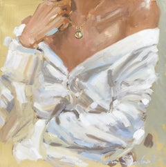 Folded Arms by Laura Lacambra Shubert, Square Impressionist Bust Painting