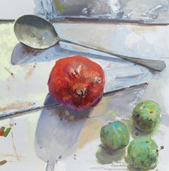 Fruit and Silver, Laura Shubert Large Impressionist Still Life Oil Painting