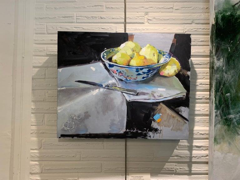 Lemons and a Knife by Laura Shubert, Petite Oil on Board Still Life Painting - Gray Landscape Painting by Laura Lacambra Shubert