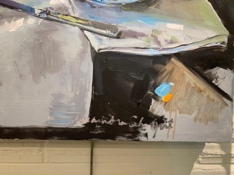 'Lemons and a Knife' is a small Impressionist oil on canvas still life painting created by American artist Laura L. Shubert in 2020. Featuring a palette made of beige, blue, black, yellow and orange and pink tones, the painting draws us in with its