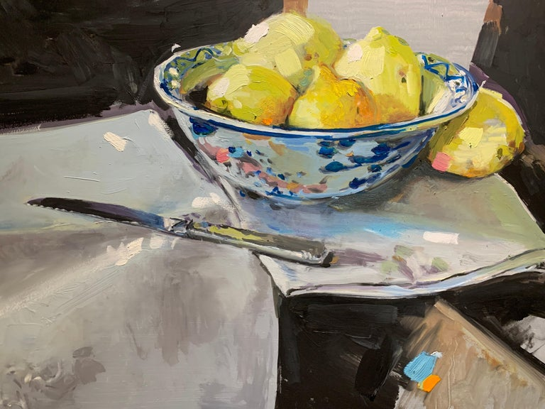 Lemons and a Knife by Laura Shubert, Petite Oil on Board Still Life Painting For Sale 1