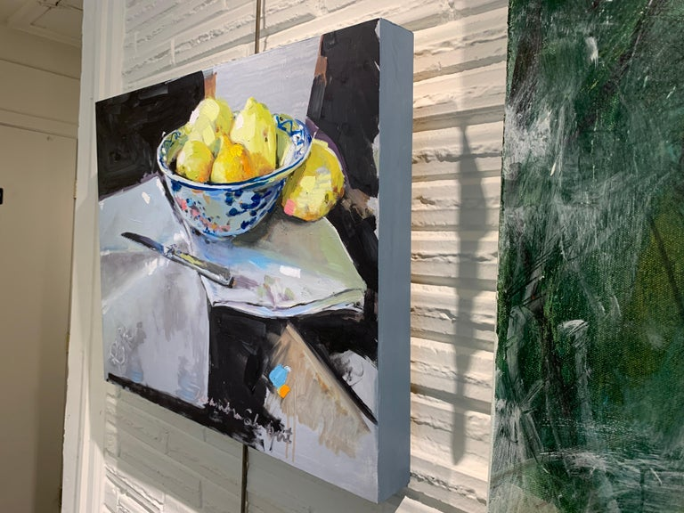 Lemons and a Knife by Laura Shubert, Petite Oil on Board Still Life Painting For Sale 2