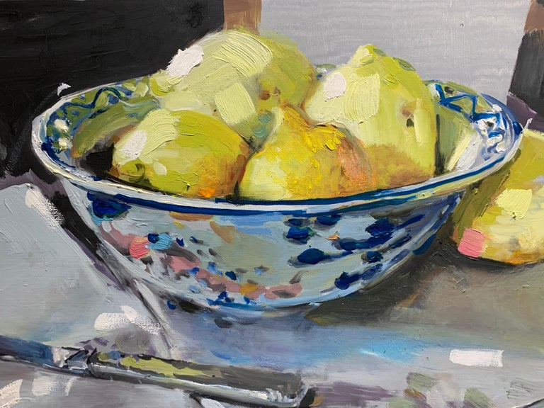 Lemons and a Knife by Laura Shubert, Petite Oil on Board Still Life Painting For Sale 4