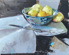 Lemons and a Knife by Laura Shubert, Petite Oil on Board Still Life Painting