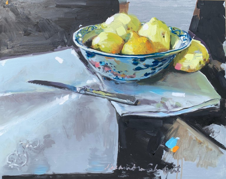 Laura Lacambra Shubert Landscape Painting - Lemons and a Knife by Laura Shubert, Petite Oil on Board Still Life Painting
