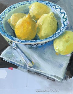 Lemons in a Blue and White Bowl by Laura Shubert, Petite Oil on Board Still Life