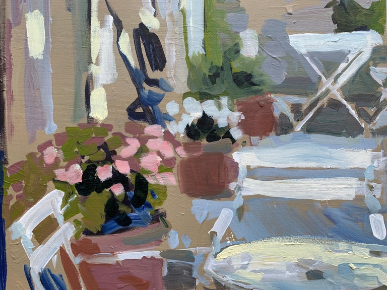 Outdoor Terrace by Laura L Shubert, Square Provencal Oil Painting with Blue - Brown Landscape Painting by Laura Lacambra Shubert