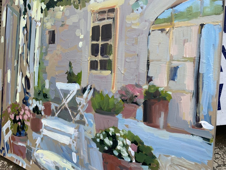 Outdoor Terrace by Laura L Shubert, Square Provencal Oil Painting with Blue For Sale 2