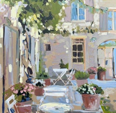 Outdoor Terrace by Laura L Shubert, Square Provencal Oil Painting with Blue